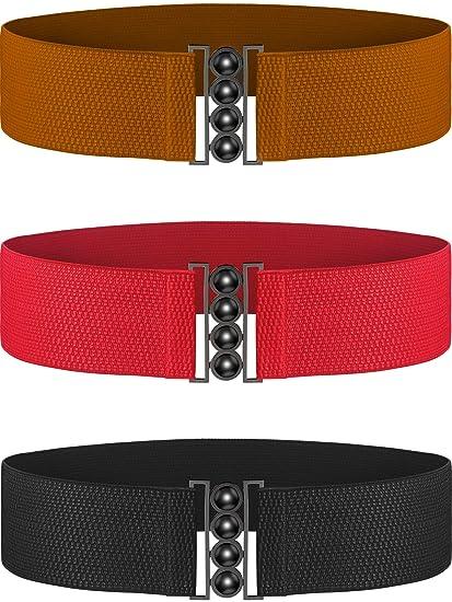 596a0195e03 Chuangdi Vintage Wide Hook Plus Stretchy Elastic Waist Belt Waistband  Corset Cinch Belt (Black Brown
