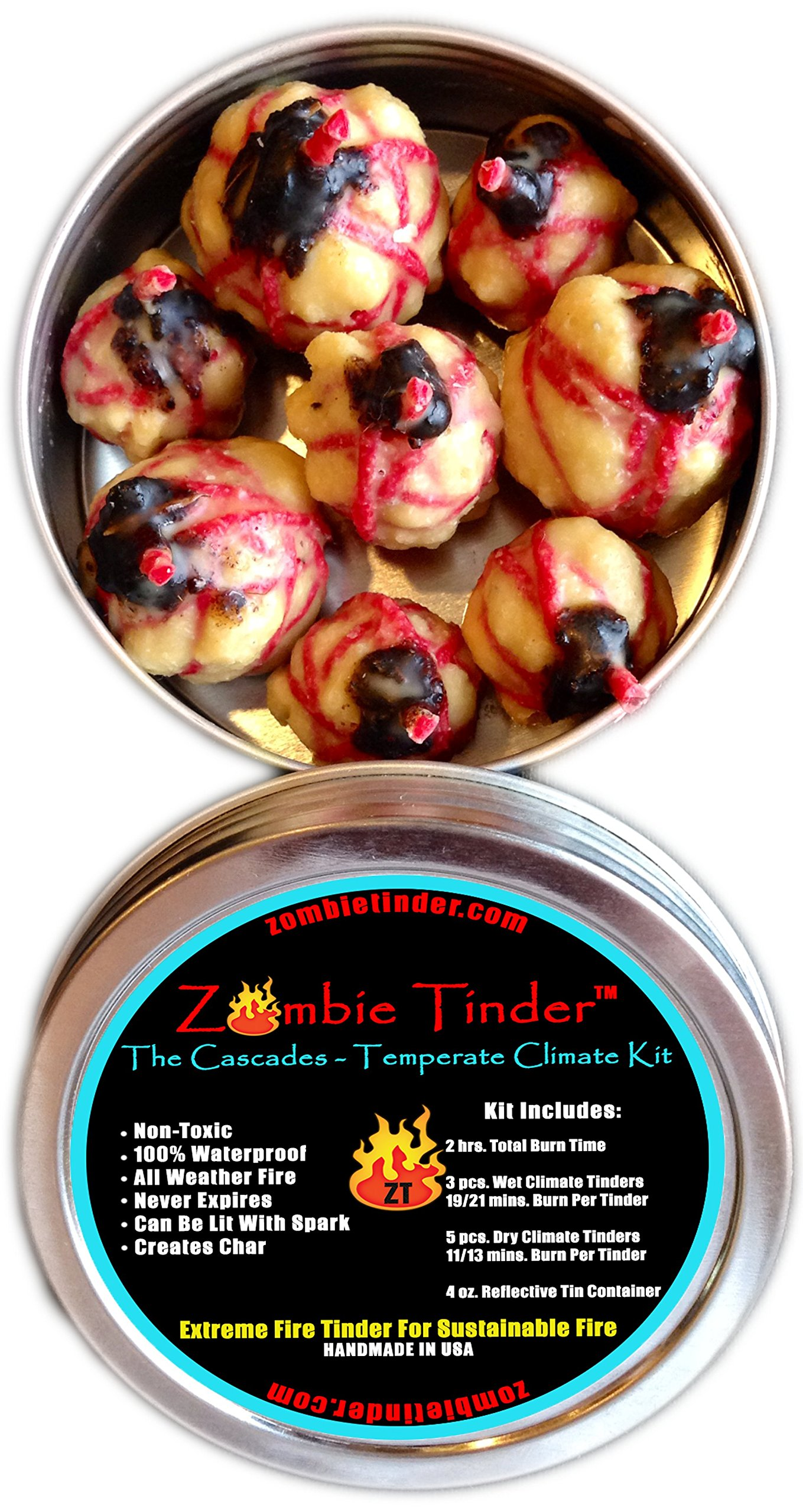 Zombie Tinder The Cascades: Temperate Climate Kit - Extreme Fire Starter & Tinder - Over 2 Hours of Total Burn Time - Easy Light Wick - Spark Light