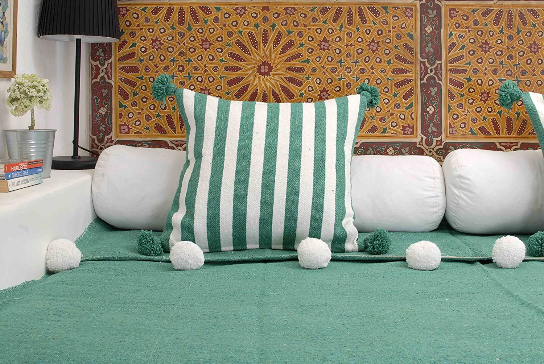 Amazon.com: Moroccan Pom Pom Blanket Throw Bedspread, Hand ...