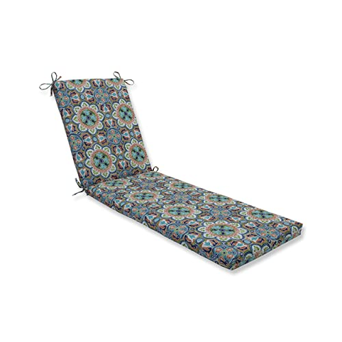 Pillow Perfect Outdoor Indoor Lagoa Tile Flamingo Chaise Lounge Cushion 80x23x3, Blue, 80 X 23 X 3