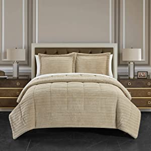 Chic Home Ryland 3 Piece Comforter Set Ribbed Textured Microplush Sherpa Bedding - Pillow Shams Included, King, Beige