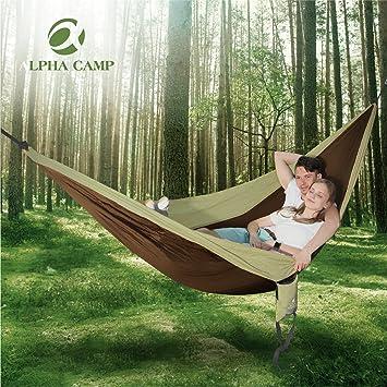 Alpha campamento hamaca doble Camping ligero portátil para Camping senderismo mochila de viaje: Amazon.es: Jardín