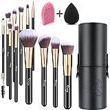Qivange Makeup Brushes, Flat Foundation Blush Eyeliner Eyeshadow Brushes with Holder+Makeup Sponge & Brush Cleaner…