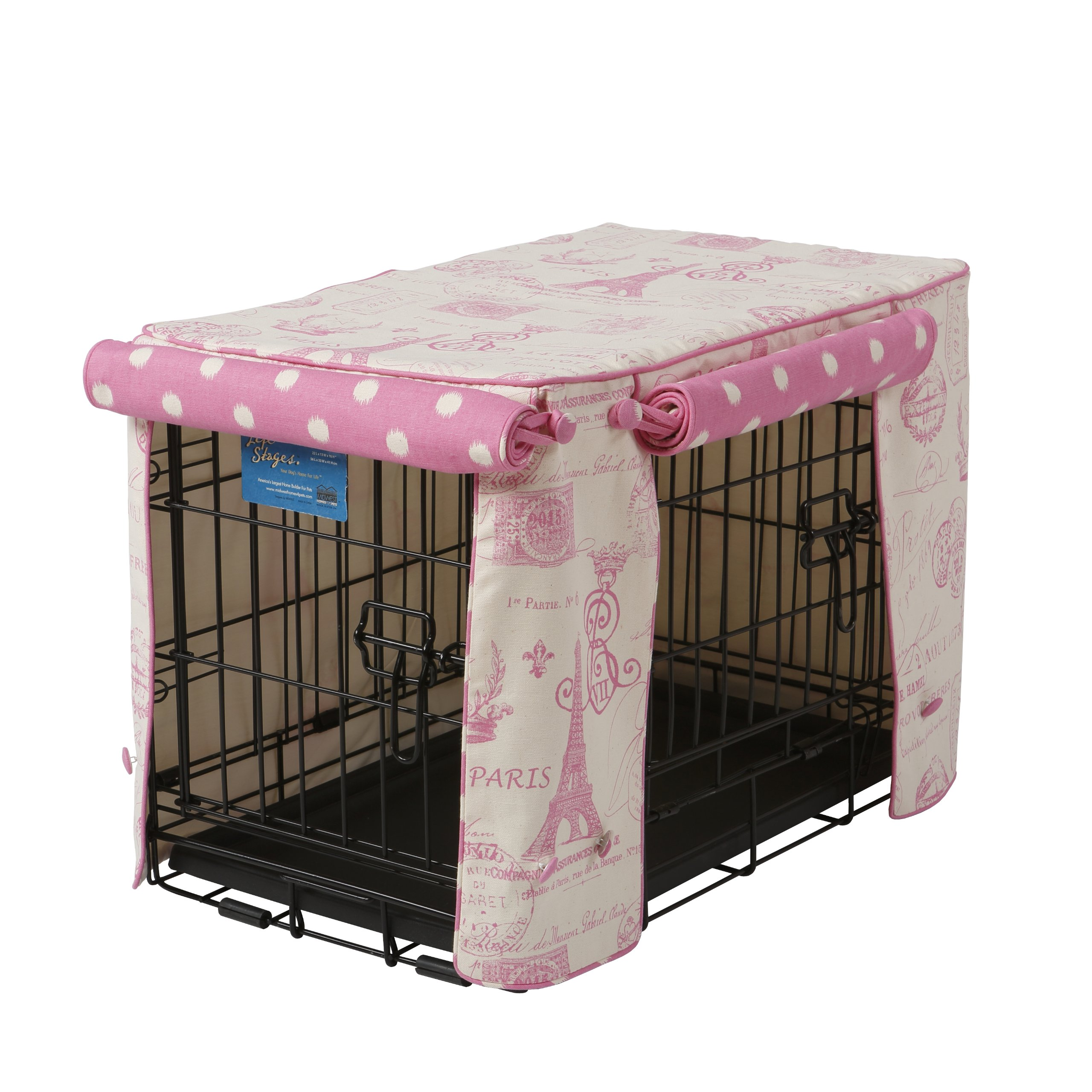 Crate Covers and More Double Door 42 Pet Crate Cover, Parisian Pink with Pink Polka Dot