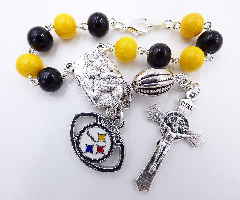 Pittsburgh Pro Football Catholic Rosary Beads Single Decade St Christopher Sports Team Auto Rosary
