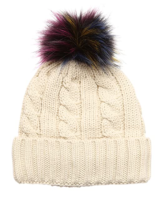 MIRMARU Winter Cable Knitted Faux Fur Multi Color Pom Pom Beanie Hat with  Soft Fur Lining bc9ea5b7bf3
