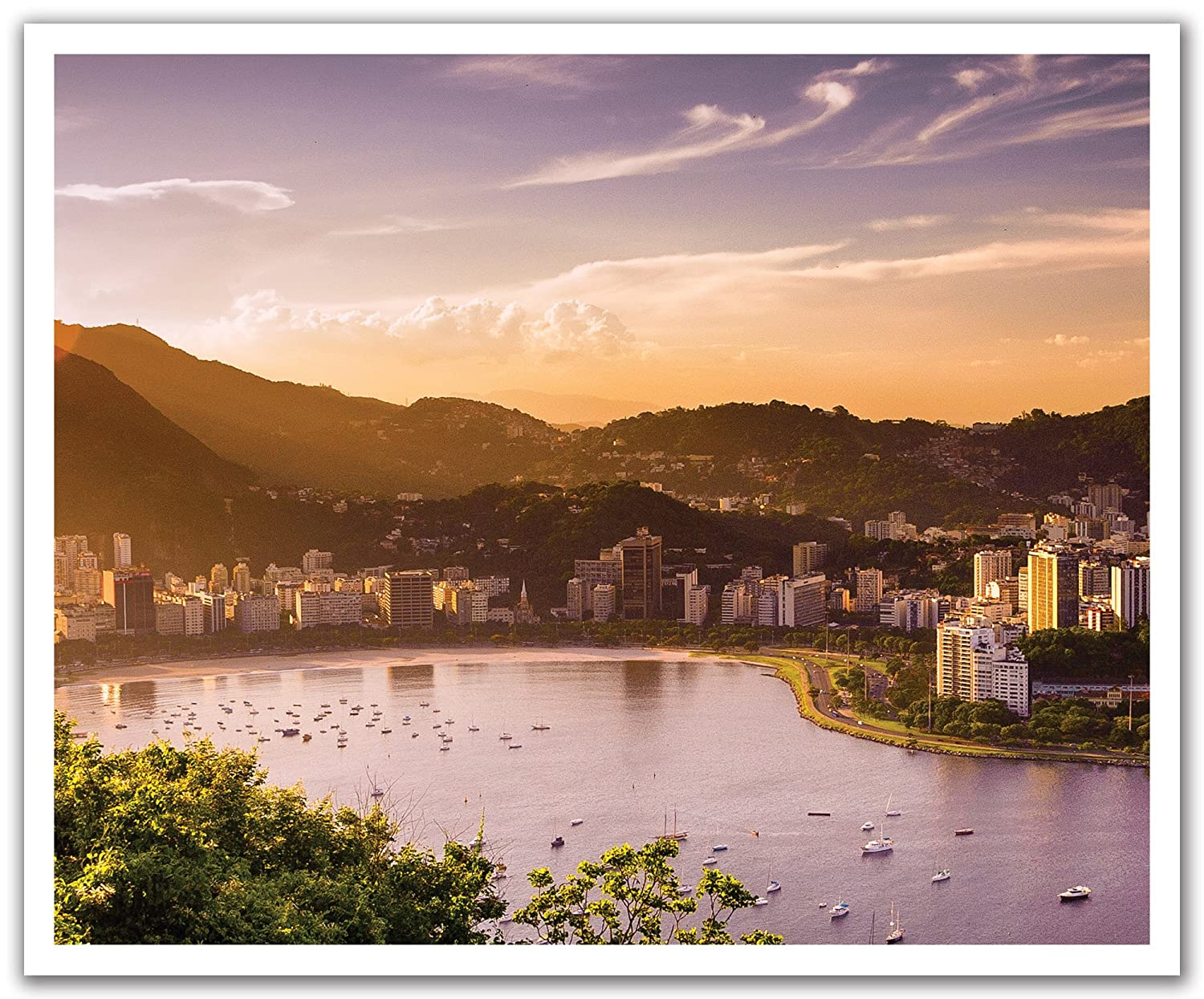 JP London POS2401 uStrip Peel and Stick Removable Wall Decal Sticker Mural Rio Brazil City Bay Skyline 24-Inch by 19.75-Inch