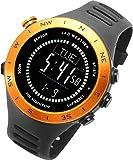 [ラドウェザー]ランニングウォッチ 心拍計 USB充電 速度計 歩数計 気圧計 高度計 コンパス アウトドア腕時計 スポーツ時計 (ブラック(反転液晶))
