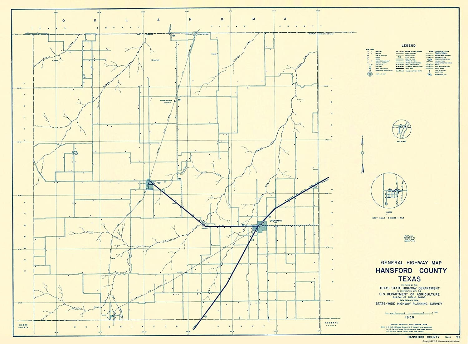 Amazon.com: Old County Map - Hansford Texas - Highway Dept ... on map of highway 90 texas, map of highway 77 texas, map of highway 40 texas, map of highway 59 texas, map of highway 10 texas, map of highway 20 texas,