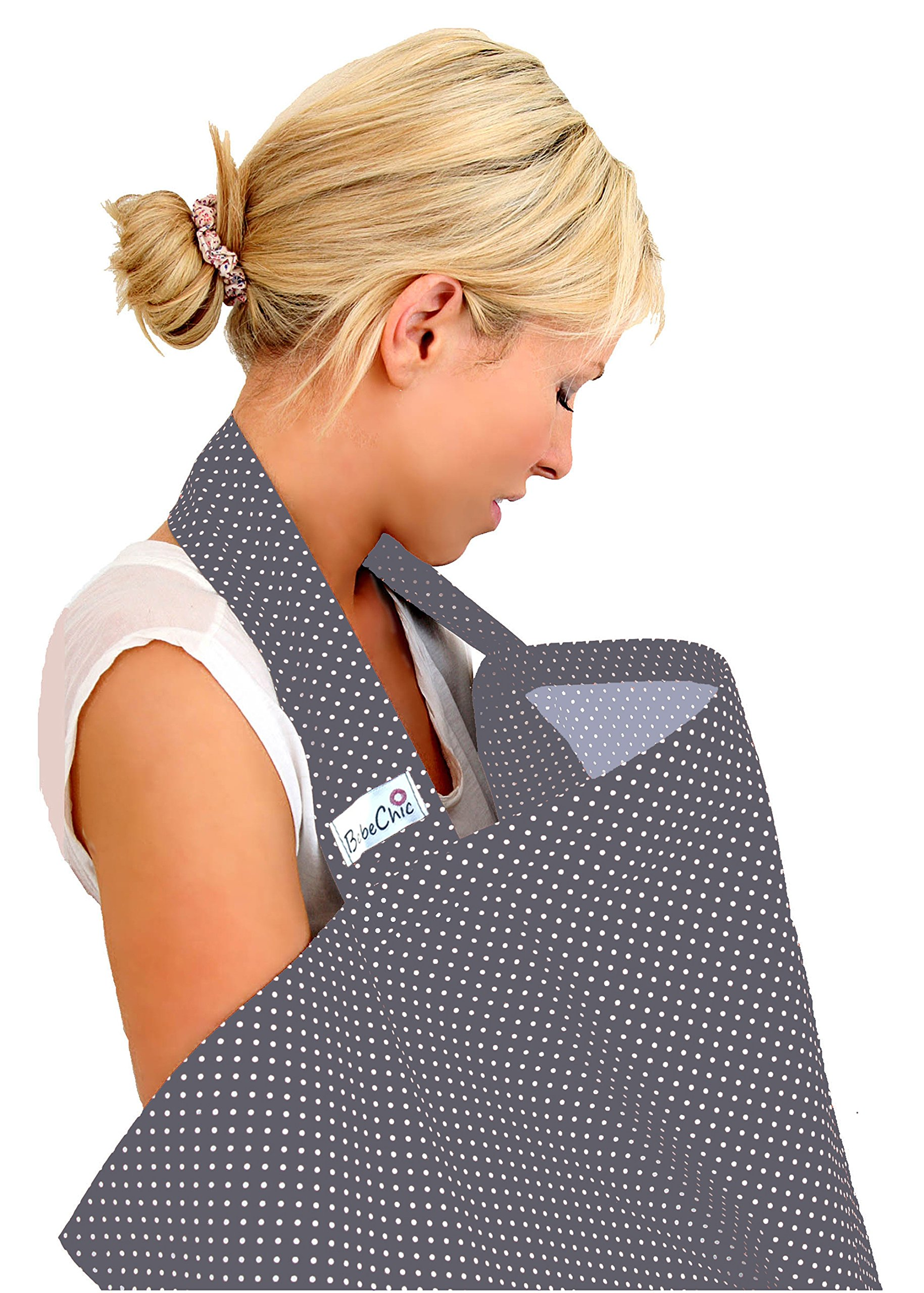 BebeChic.UK * Top Quality Oeko-Tex® Certified 100% Cotton * Breastfeeding Covers * Boned Nursing Tops - Slate Grey/White dot