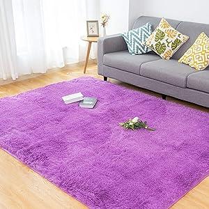 CHOSHOME Soft Fluffy Shaggy Fur Area Rugs for Bedroom Livingroom Home Decorative Warm Floor Carpet, Non-Slip Plush Furry Fur Rugs for Boys Girls Kids Nursery Playing Mat Fuzzy Rugs, 5x8 Feet, Purple