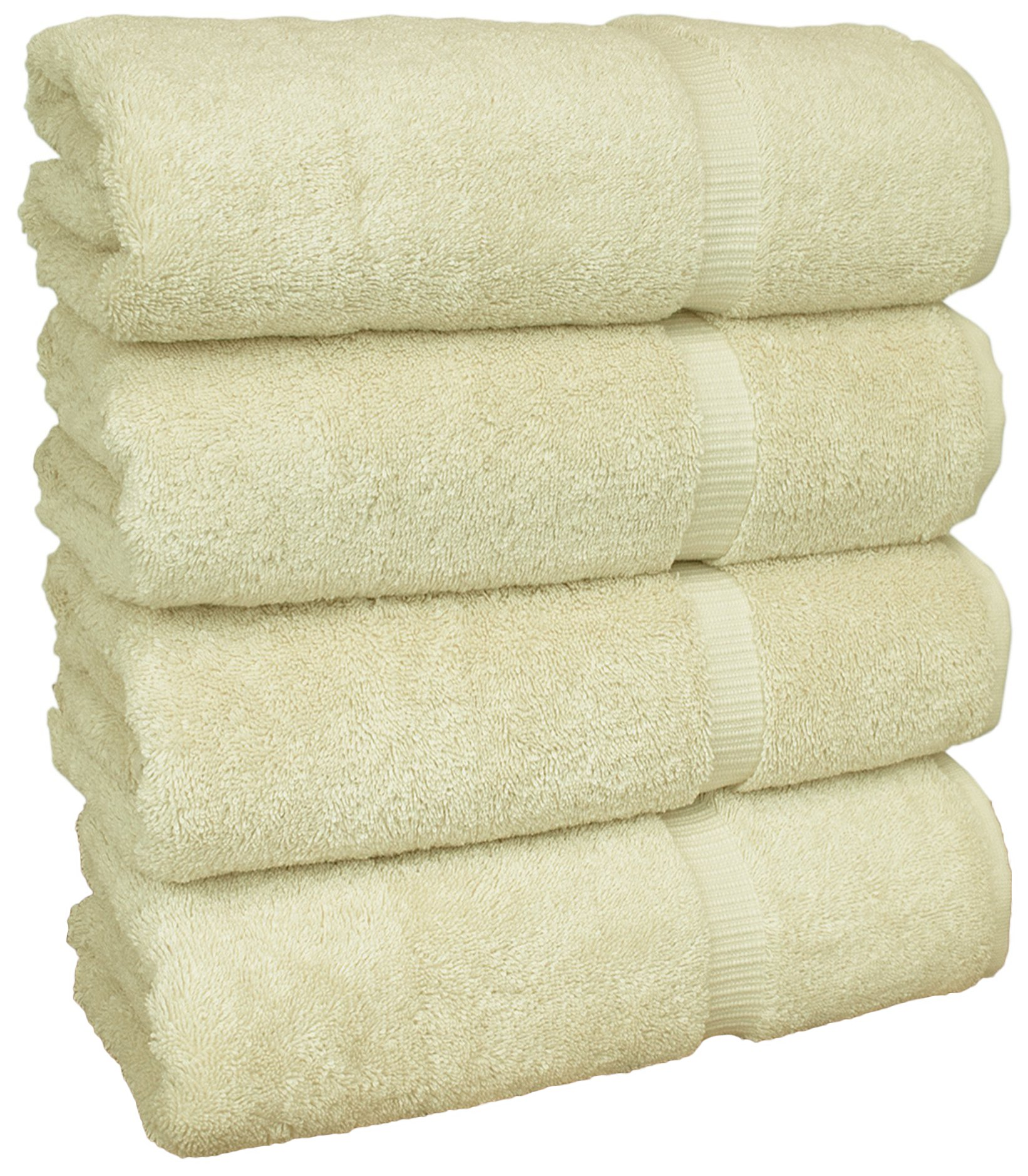 Chakir Turkish Linens Turkish Cotton Luxury Hotel & Spa Bath Towel, Bath Towel - Set of 4, Cream