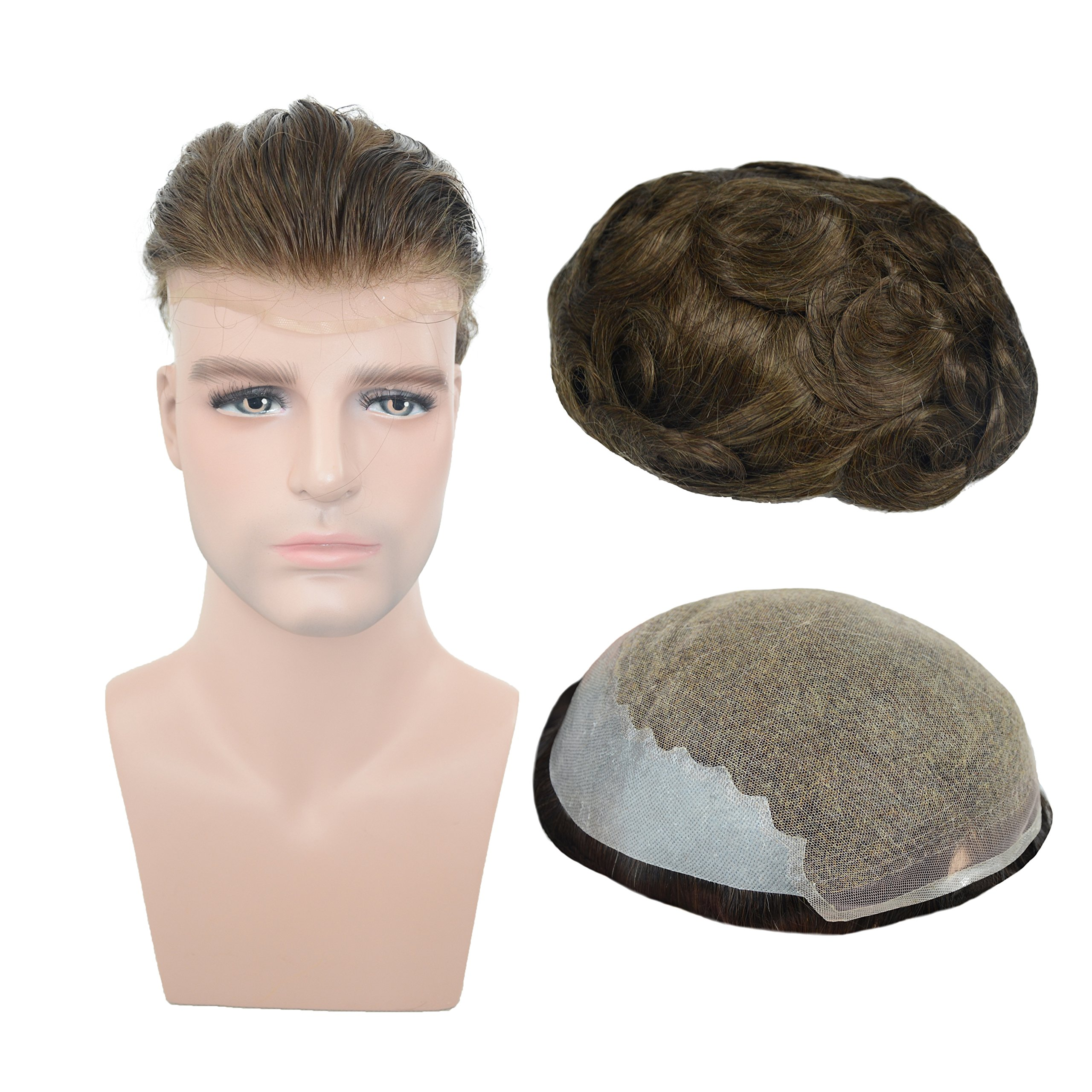 European Human hair Toupee For Men with 8x10 inch Soft French Lace Cap with 2inch clearly PU in Back, Veer Natural Wave Men's Hairpiece Replacement System Light Brown Color(#4)