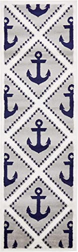 Unique Loom Metro Collection Modern Nautical Geometric Anchor Gray Runner Rug 2 0 x 6 7