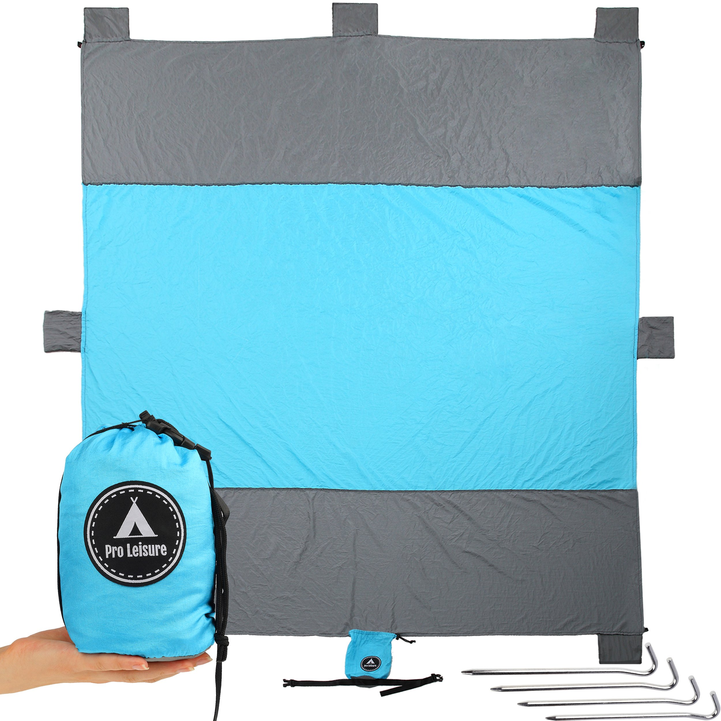 XL Large Beach Blanket - Picnic Blanket Waterproof Sand Sandproof Mat - Extra Large Beach Blanket - Big Sandless, Fast Dry Nylon,6 Pockets, 4 Metal Stakes. for Whole Family or Children's Game