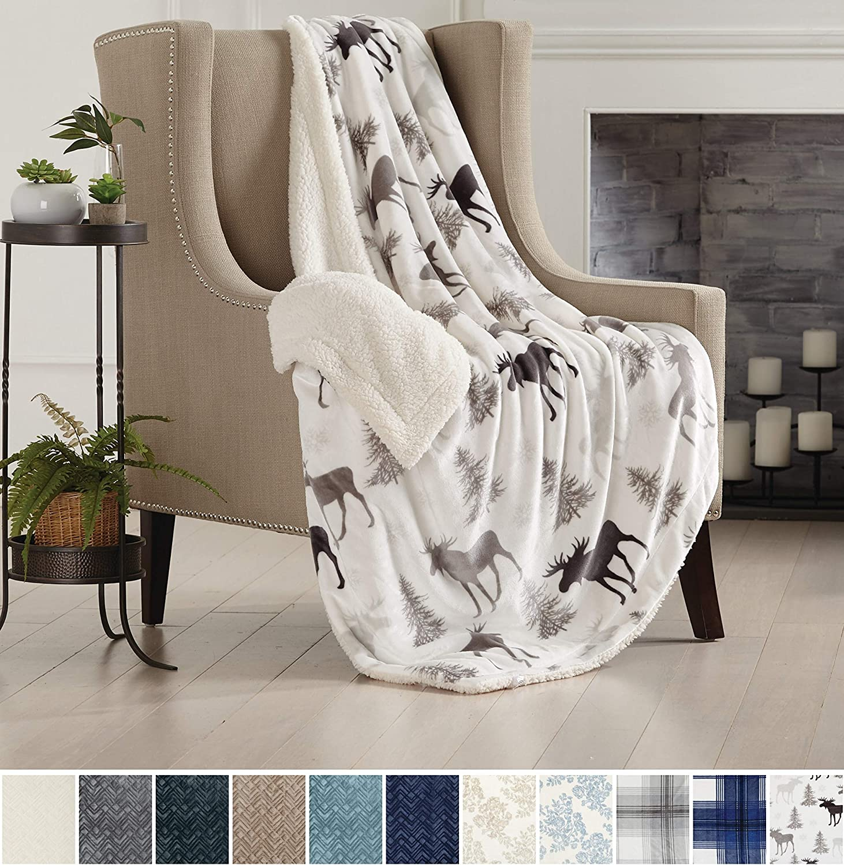 Home Fashion Designs Premium Reversible Two-in-One Sherpa and Fleece Velvet Plush Blanket. Fuzzy, Cozy, All-Season Berber Fleece Throw Blanket Brand. (Moose)