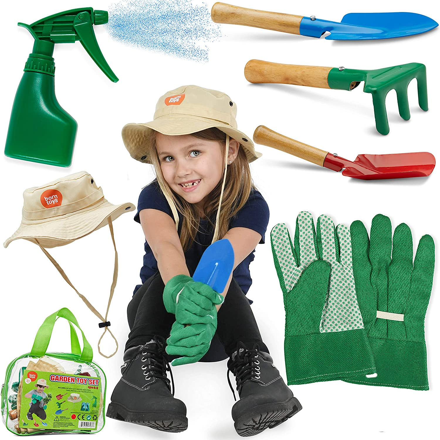 Born Toys Kids Gardening Set (6 pc),Garden Rake and Tools with Kids Gardening Gloves and Washable HAT Set for Real or Sand Gardening Water Sprayer Bag Included