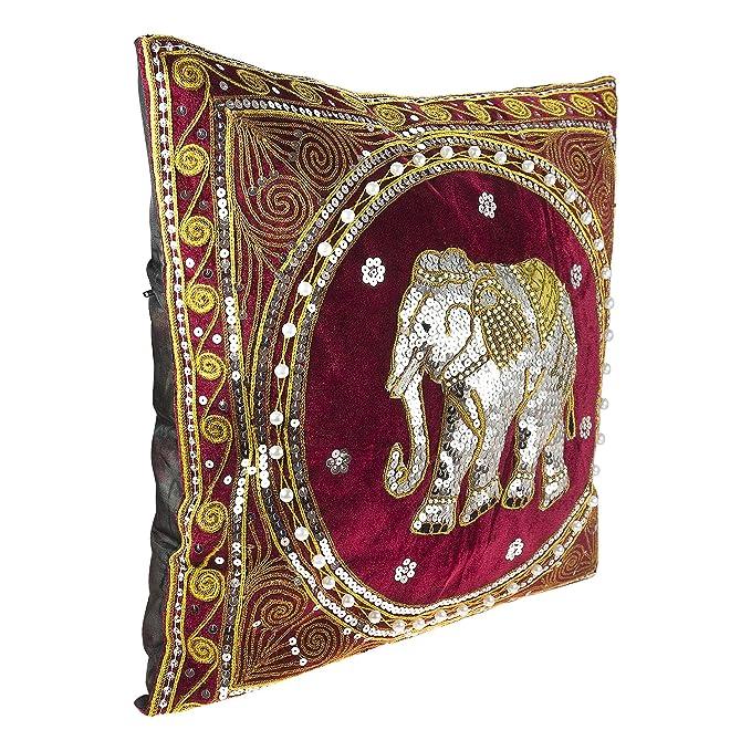 Amazon.com: Thai elefante bordado Terciopelo Throw fundas de ...