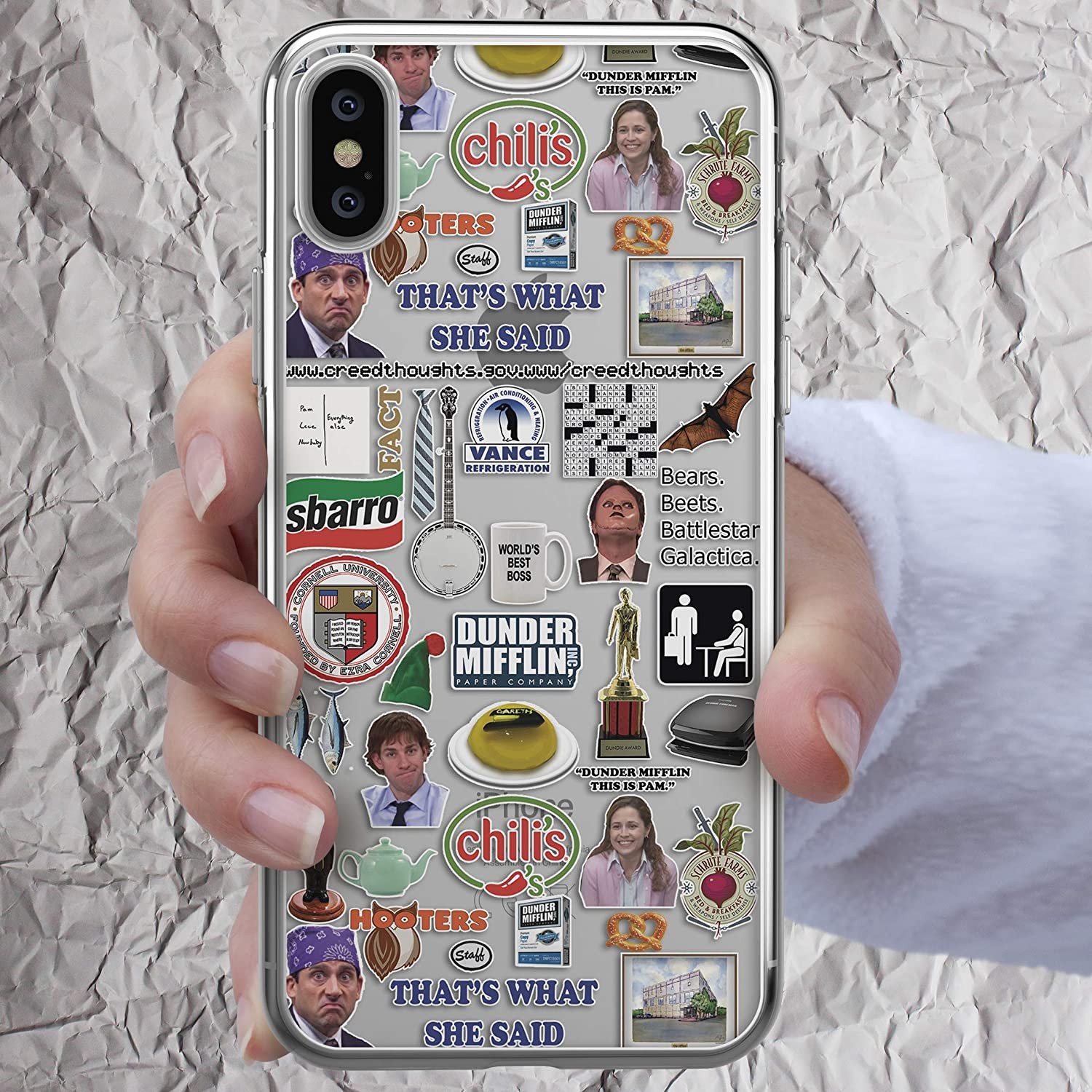 Dunder Mifflin Coffee Mug Inspired by The Office Phone case Worlds Best Boss Case Thats What She Said Schrute Farms Beets Dwight iPhone 11 Pro 7 8 6 6s plus X Xs Max Xr 5 5s se 5se Gifts Clear Cover