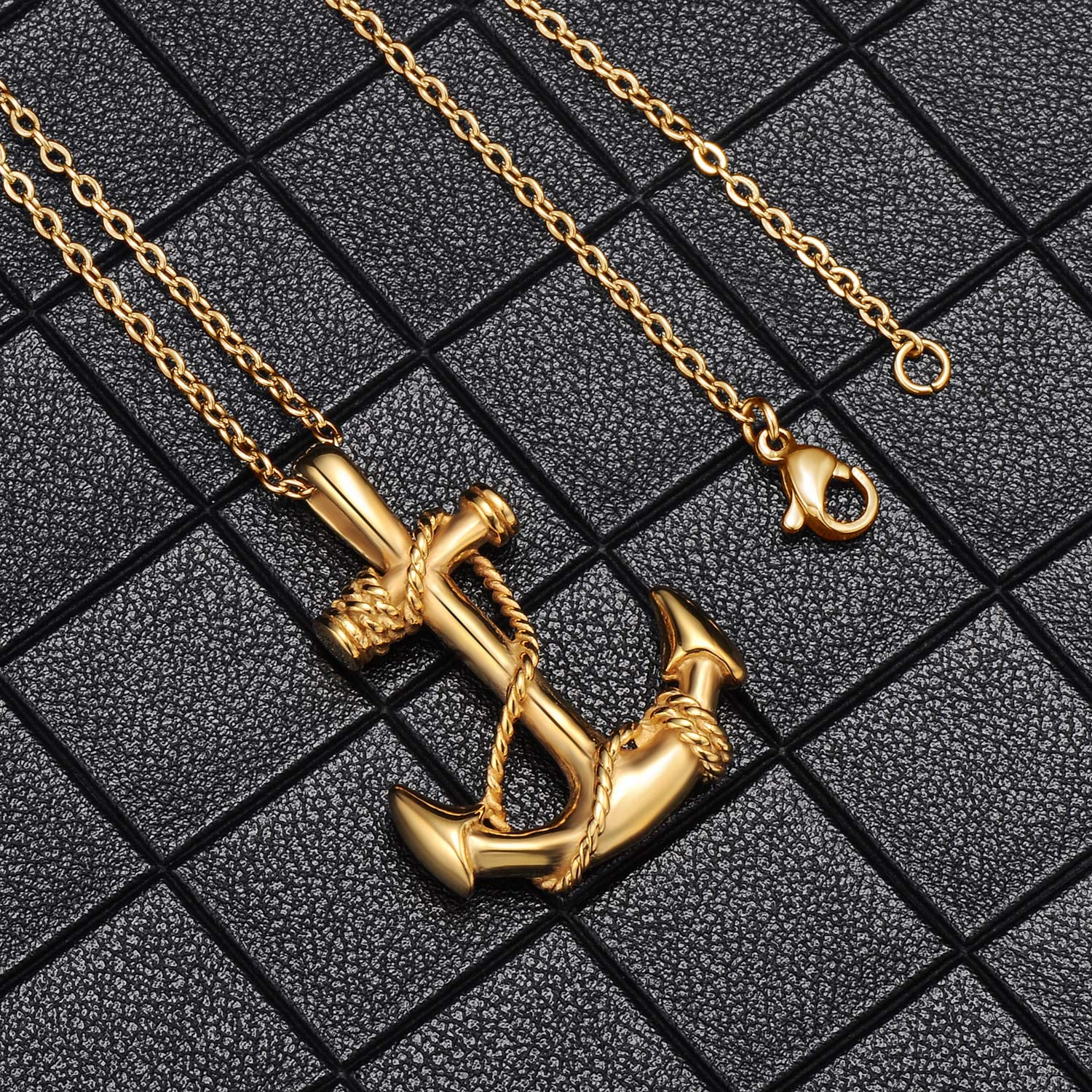 Feilok Stainless Steel Anchor Chain Nautical Pendant Chain Polishe Pirate of the Caribbean Sailing Necklace for Men