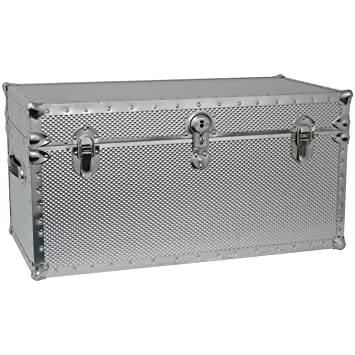 Attirant Seward Trunk Embossed Steel Storage Footlocker Trunk, Silver, 31 Inch  (SWD5934
