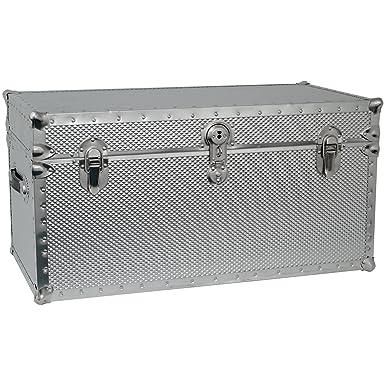 Seward Trunk Embossed Steel Storage Footlocker Trunk, Silver, 31 Inch  (SWD5934