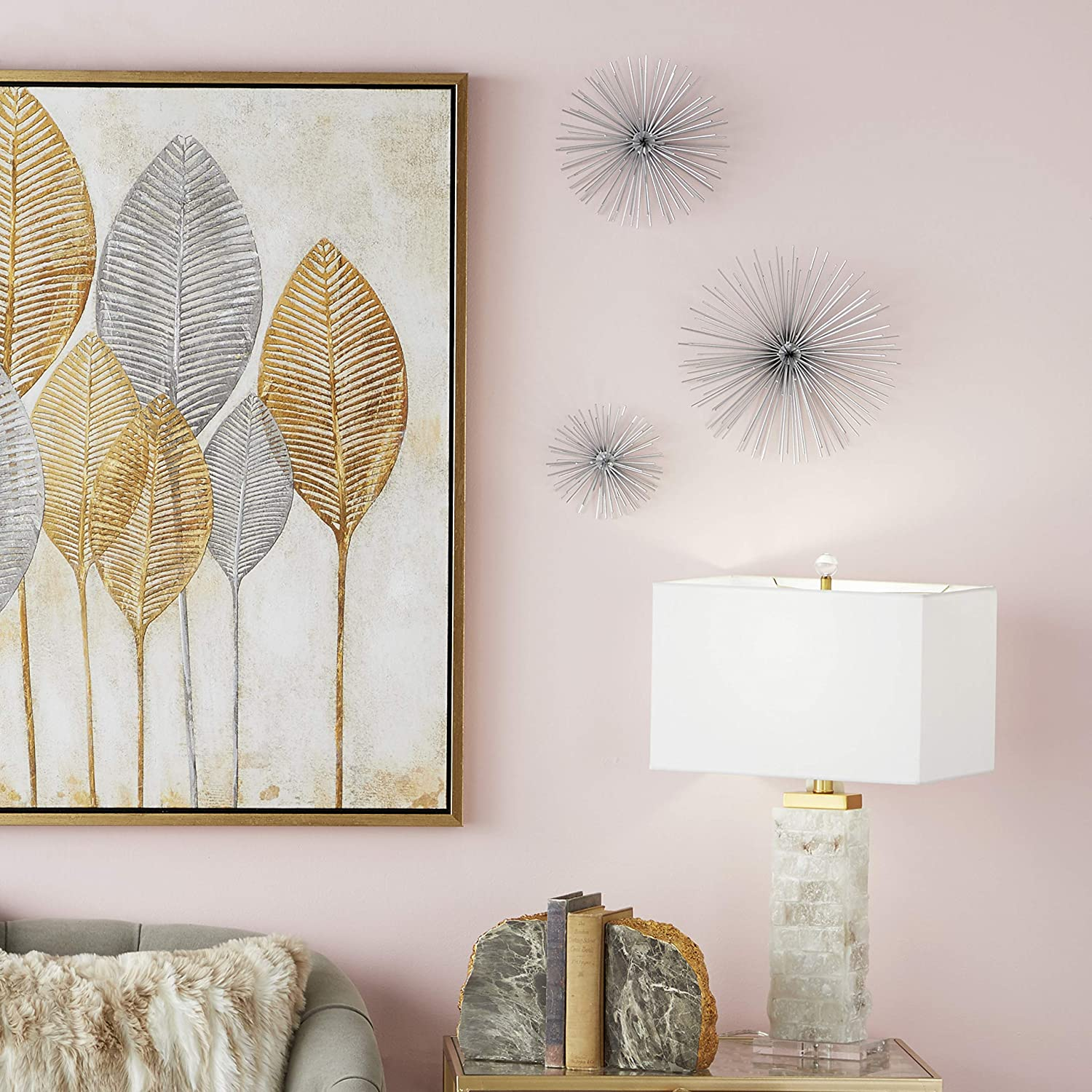 """Contemporary Style 3D Round Silver Metal Starburst Wall Decor Sculptures, Set of 3: 6"""", 9"""", 12"""""""