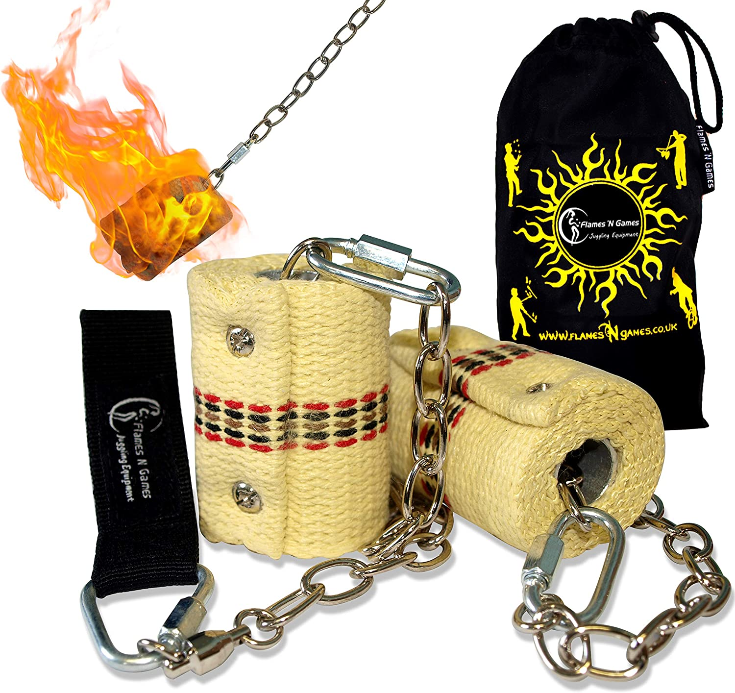 Fire Spinner Bag 2x65mm wicks Flames N Games Classic Pro Fire Poi