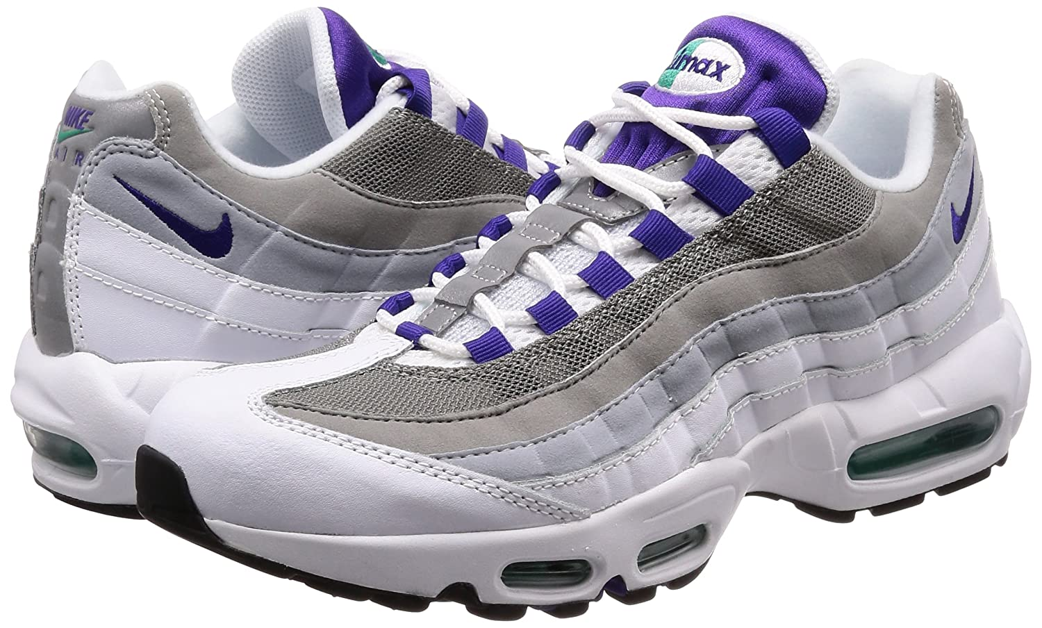 official photos 0f7f4 2b081 Amazon.com   Nike Women s WMNS Air Max 95 Trainers, Multicolour (White Emerald  Green Wolf Grey Court Purple 109), 4.5 UK 38 EU   Road Running