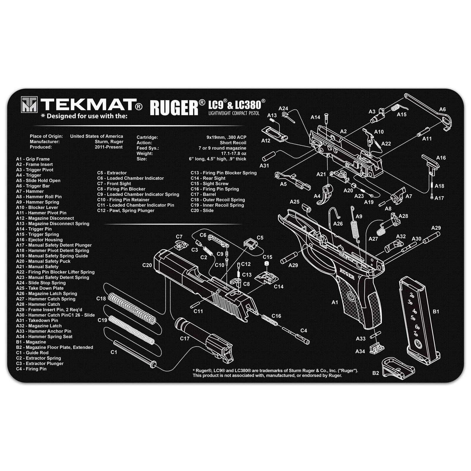 TekMat 11-Inch X 17-Inch Handgun Cleaning Mat with Ruger LC9 Imprint Bonus 5 oc Gun Cleaning Brush & Pick Set by EDOG (Image #1)