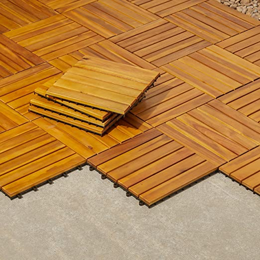Vifah V353 madera dura del Acacia - 6 Horizontal de lamas - cubierta de madera azulejo easimat: Amazon.es: Jardín