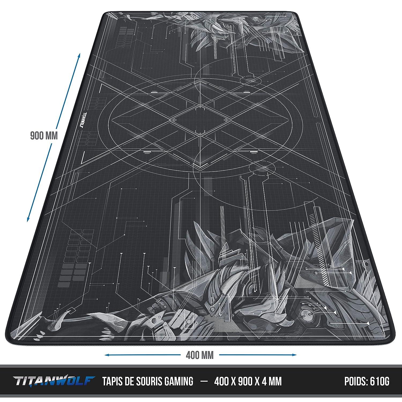 TITANWOLF sous-Main de Table XXL Tapis de Souris de Jeu Speed de Mousepad Mouse Mat 900 x 400 mm Design : Orange Wolf