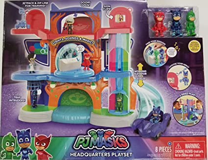 PJ Masks Headquarters Playset - Owlette, Catboy, Gekko and Cat-car vehicle Included