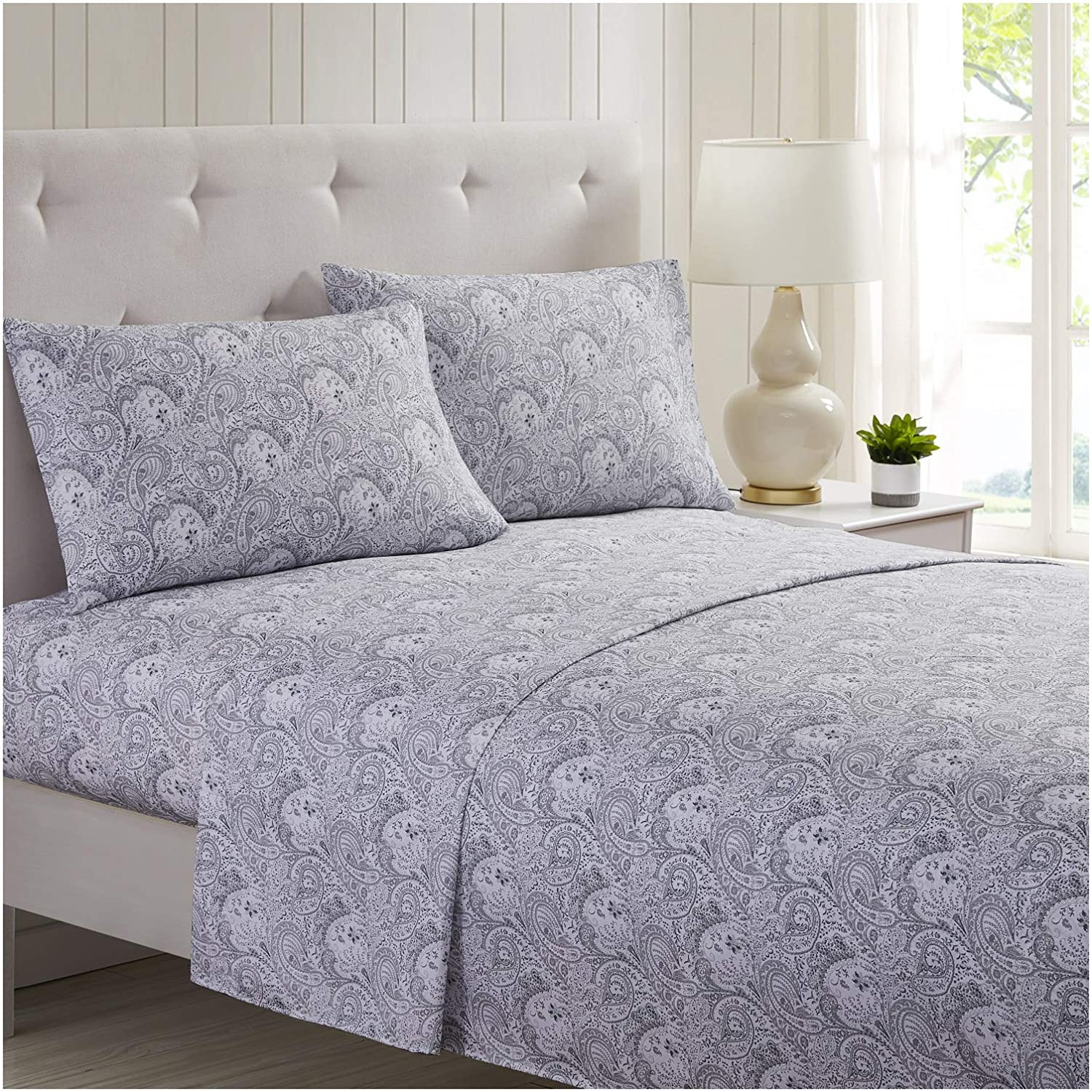 Mellanni Bed Sheet Set Brushed Microfiber 1800 Bedding - Wrinkle, Fade, Stain Resistant - 4 Piece (Queen, Paisley Gray)