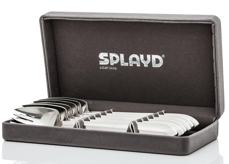 Splayd Spork (Foon) Set of 6, Satin Finish, Gift Box Cambur