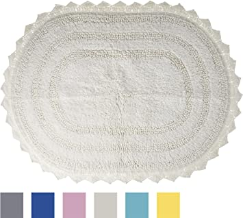 DII Ultra Soft Spa Cotton Crotchet Round Bath Mat Place In Front Of Shower,  Vanity