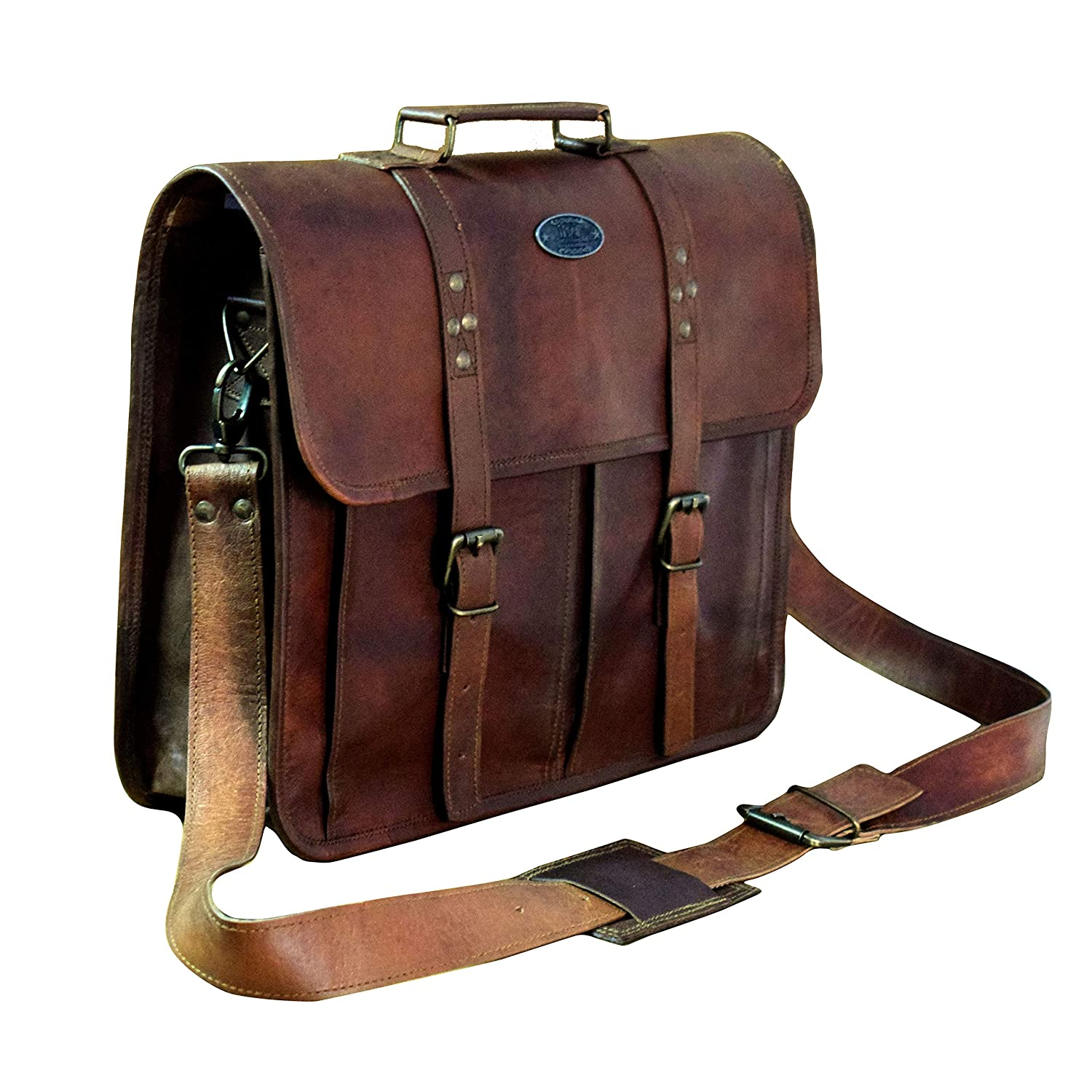 b8aeed78e436 Amazon.com  Leather Messenger Vintage Handmade Satchel Office Briefcase  College Bag Best Computer Laptop Distressed for Unisex By Indian Hando  Art.  ...
