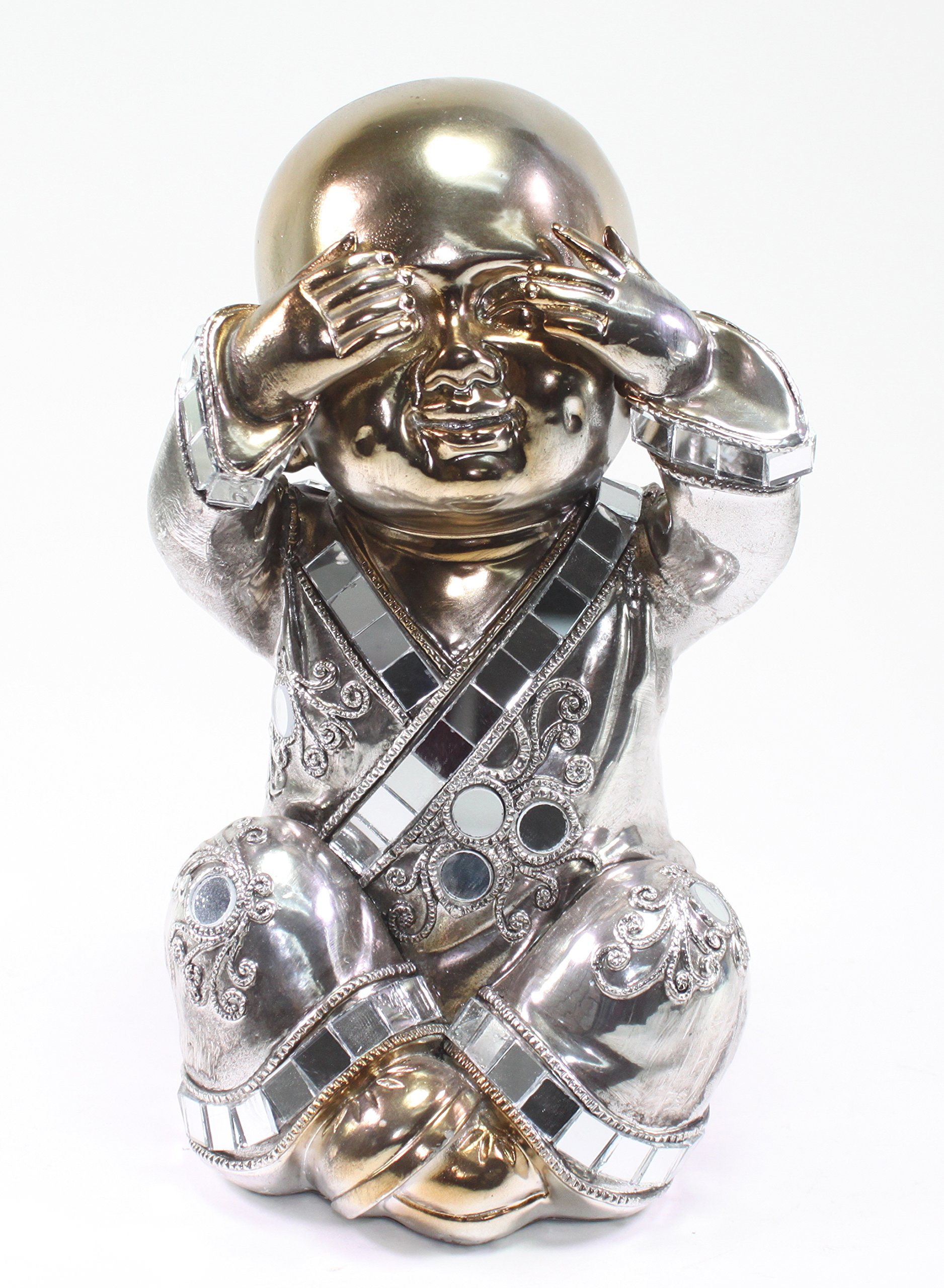7.5'' Feng Shui Bronze See No Evil Buddha Monk Electroplated Home Decor Statues