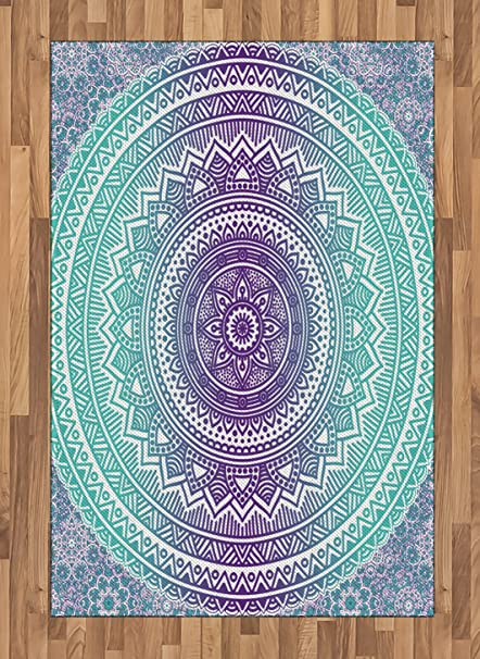 Amazoncom Ambesonne Blue And Purple Area Rug Mandala Ombre