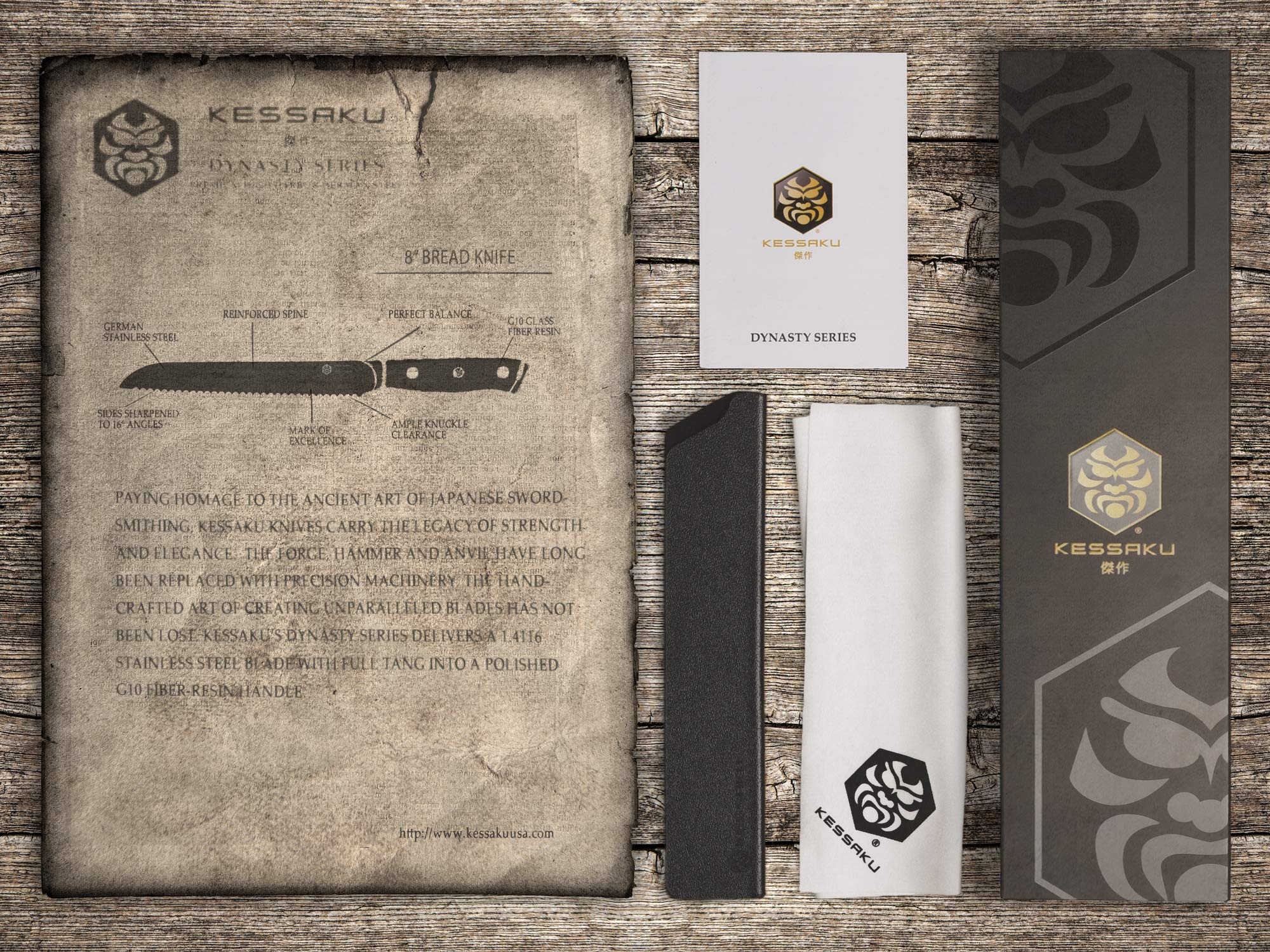Kessaku Bread Knife - Dynasty Series - German HC Steel, G10 Full Tang Handle, 8-Inch by Kessaku (Image #5)