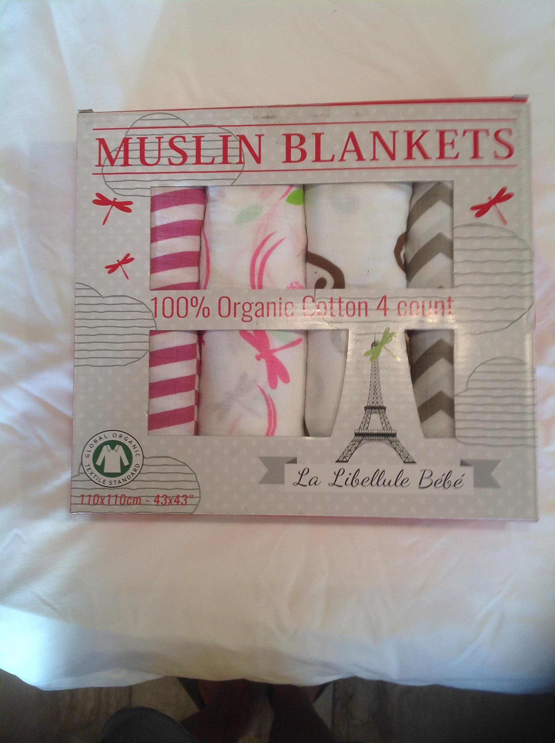 4 PACK!!! Organic Cotton Premium Muslin Blanket by La Libellule Bebé -- Great Baby Shower Gift