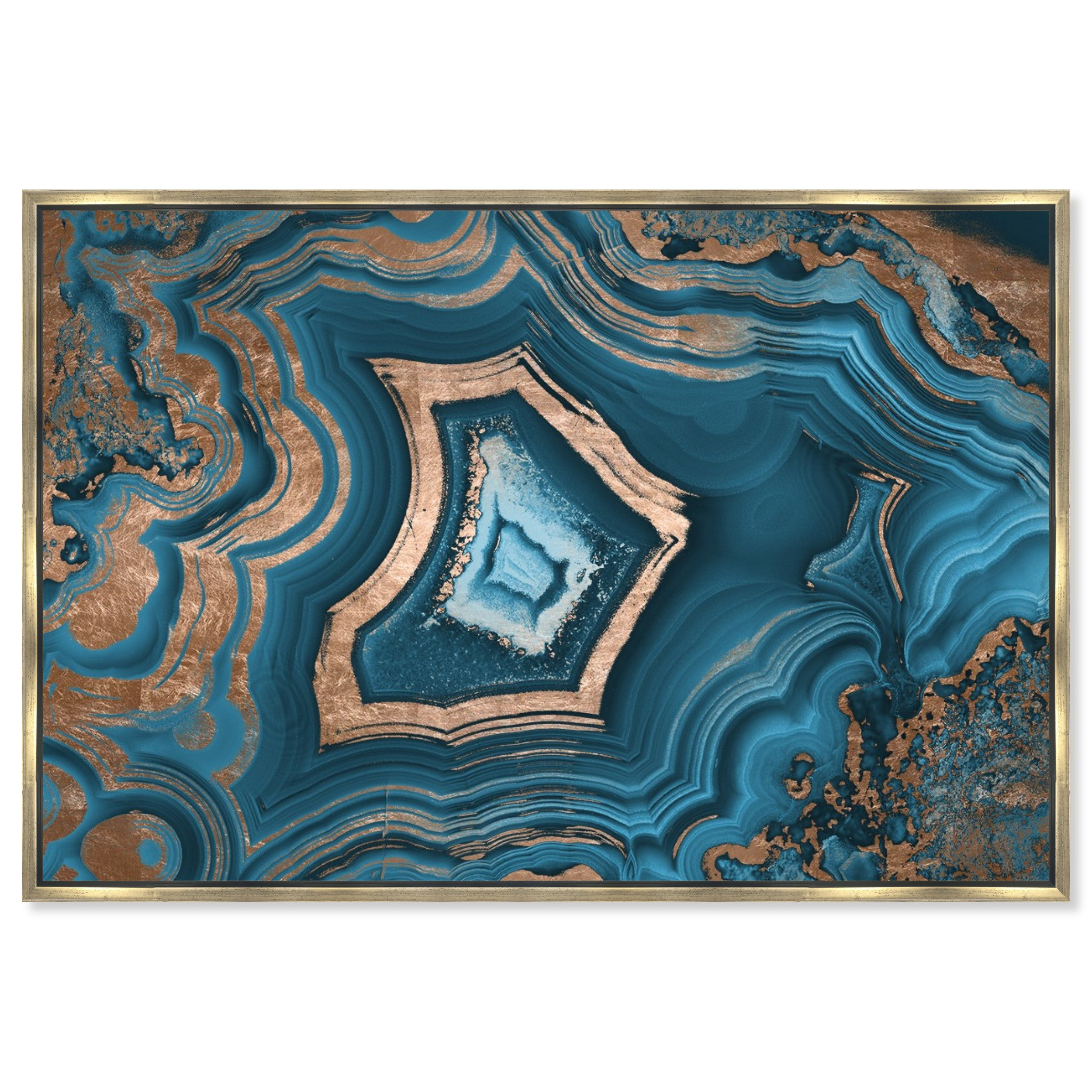 The Oliver Gal Artist Co. Dreaming about You Geode Framed Abstract Wall Art, 60'' x 40'', Blue by The Oliver Gal Artist Co.