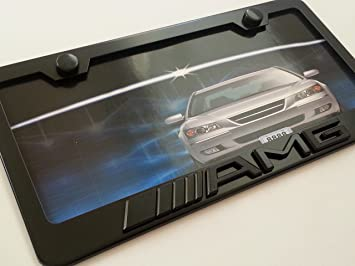 Mercedes Benz AMG 3d Logo Steel License Plate Frame Black New