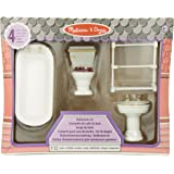 Melissa & Doug Classic Wooden Doll's House Bathroom Furniture (4 pcs) - Tub, Sink, Toilet, Towel Rack