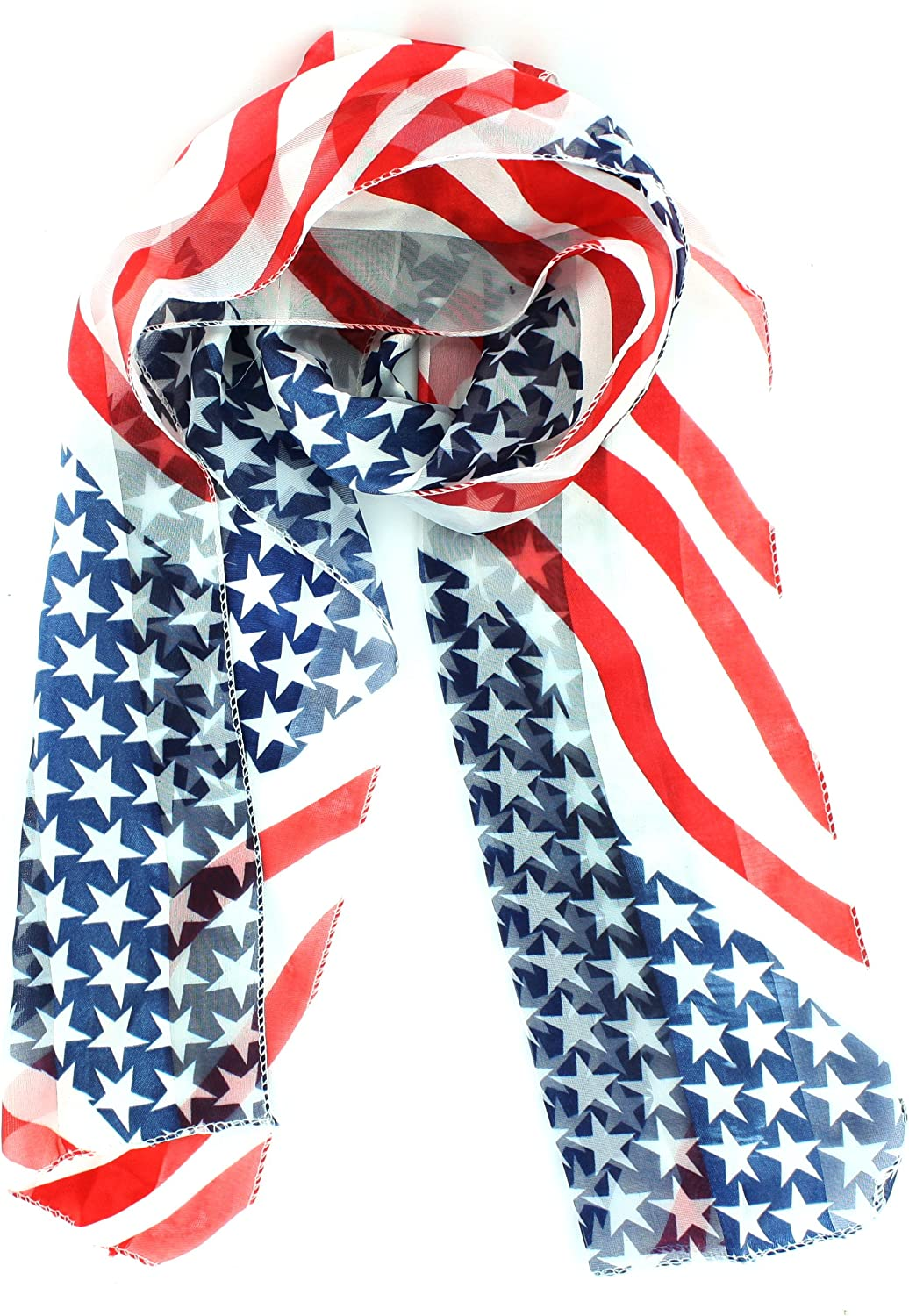 Patriot Pride Red White and Blue USA Stars and Stripes Scarf: Home & Kitchen