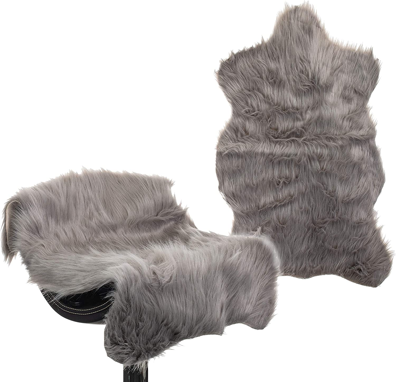 Brandsseller Kunstfell Fellteppich L/äufer Sessel/überwurf Schaffell-Optik Grau 60 x 90 cm ca Kunstfellteppiche