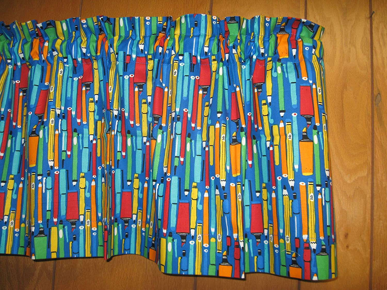 Handmade Markers Pencils Cotton Colorful Back to School Window Curtain Valance