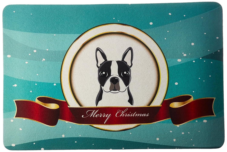 Carolines Treasures BB1513CMT Boston Terrier Merry Christmas Kitchen or Bath Mat 20x30 20H x 30W multicolor Caroline/'s Treasures BB1513CMT Boston Terrier Merry Christmas Kitchen or Bath Mat 20x30