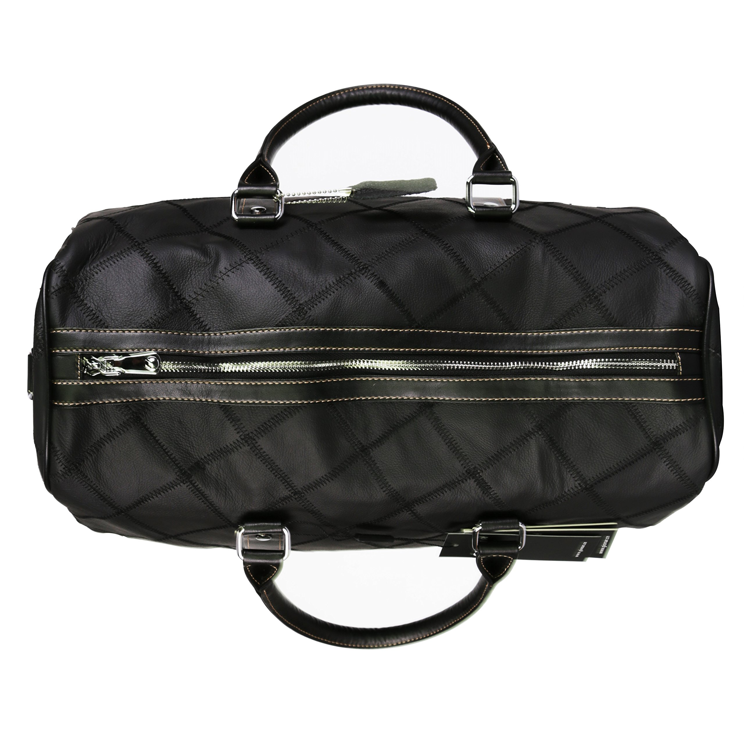 Leather Travel Duffel Bag Weekender Overnight Carry On Luggage Luxurious Vintage Leather Perfect Fit to Airplane Underseat (Black) by Gionar (Image #6)