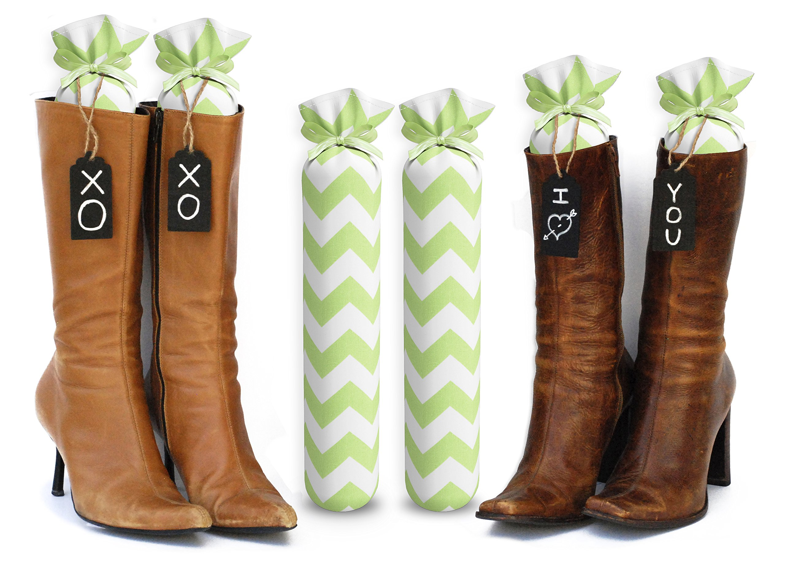My Boot Trees Boot Shaper Stands for Closet Organization. Many Patterns to Choose from. 1 Pair (Lime Green Chevron).